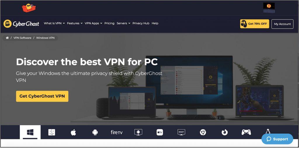 Екранна снимка на началната страница на доставчика на CyberGhost за Windows VPN услугата с информация за продукта.