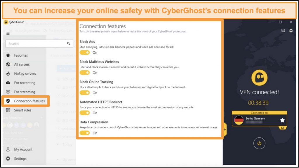 Screenshot of CyberGhost connection features to improve online security