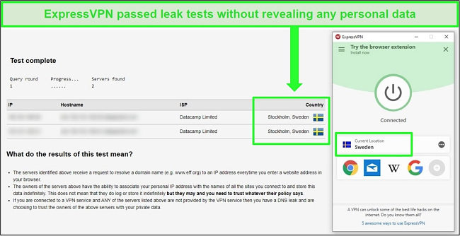 Screenshot of ExpressVPN passing a DNS leak test while connected to Swedish servers