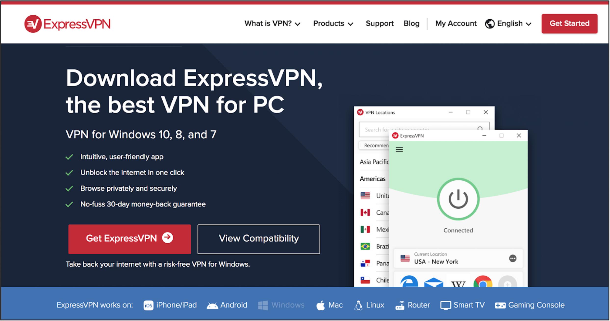 Captură de ecran a paginii de întâmpinare a furnizorilor ExpressVPN pentru serviciul său Windows VPN cu informații despre produse și linkuri de cumpărare.