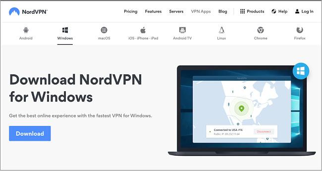 Snimak zaslona stranice dobrodošlice dobavljača NordVPN-a za njegove Windows aplikacije s informacijama o proizvodima i vezama za kupnju.
