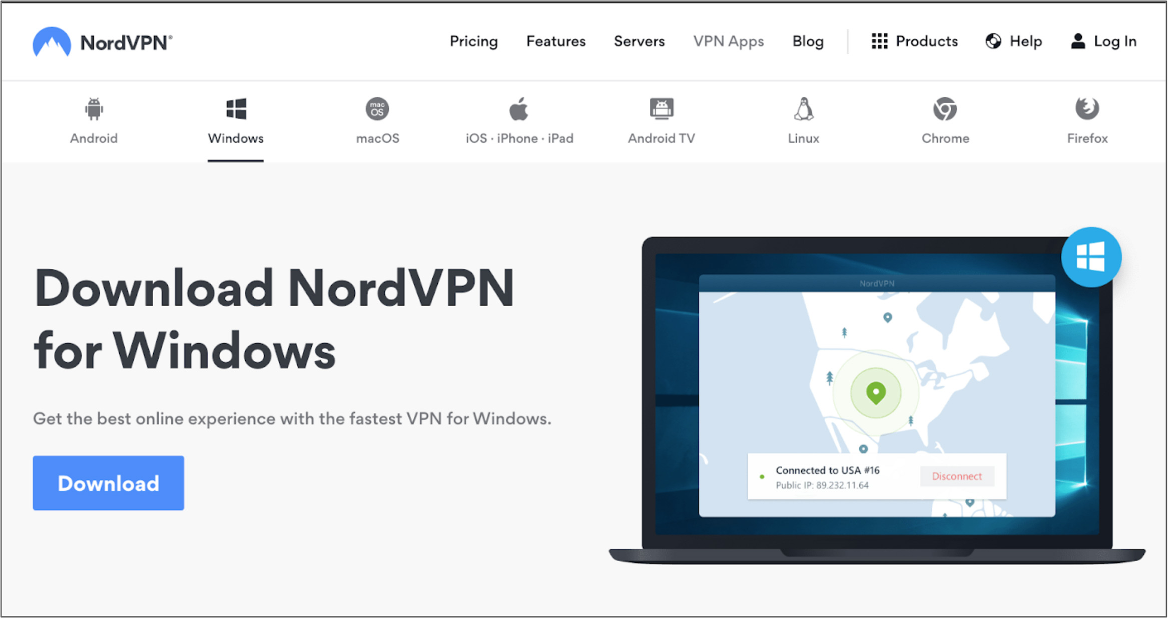 Screenshot of NordVPN's vendor welcome page for its Windows apps with product information and purchasing links.