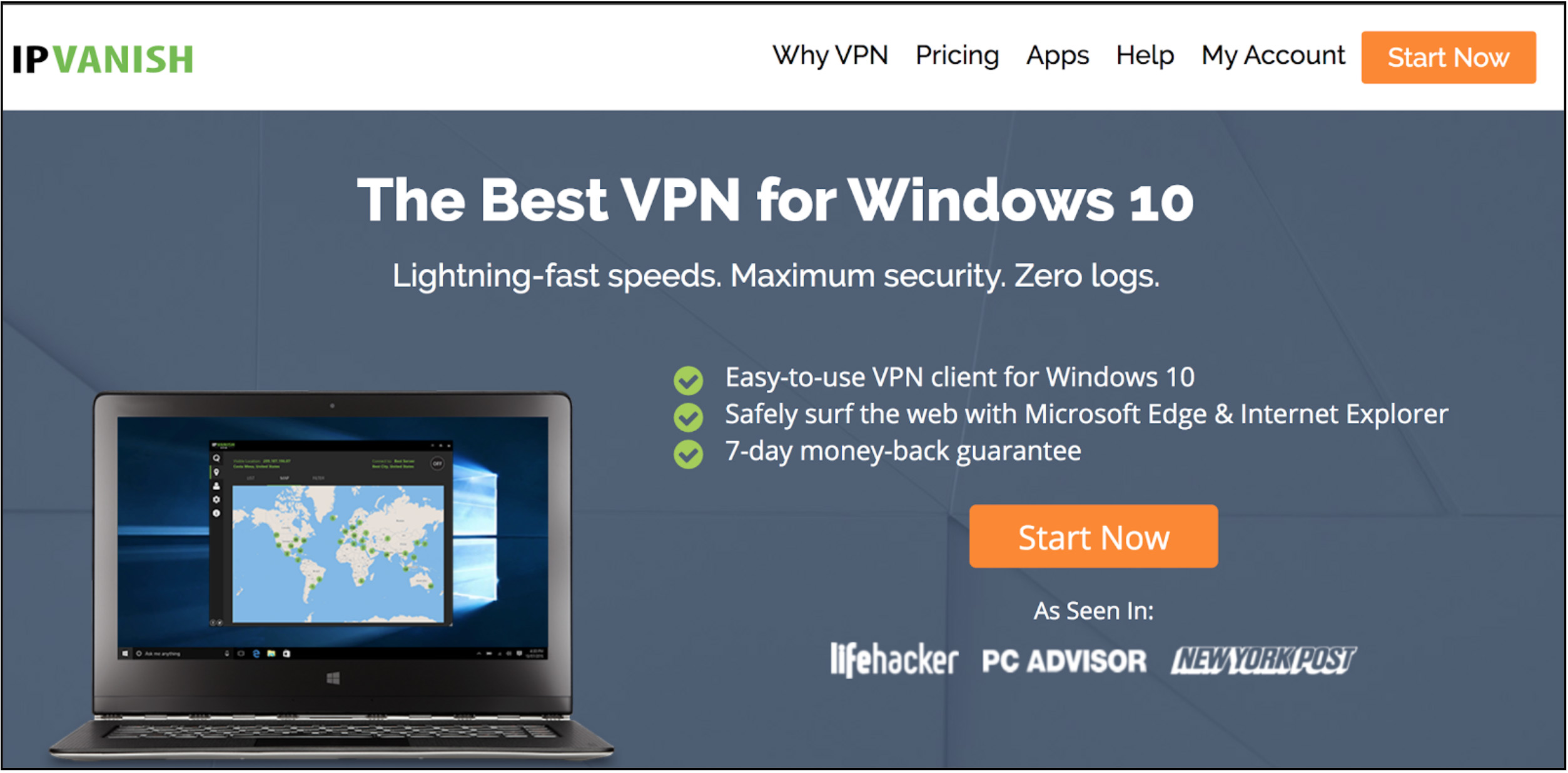 screenshot of IPVanish homepage