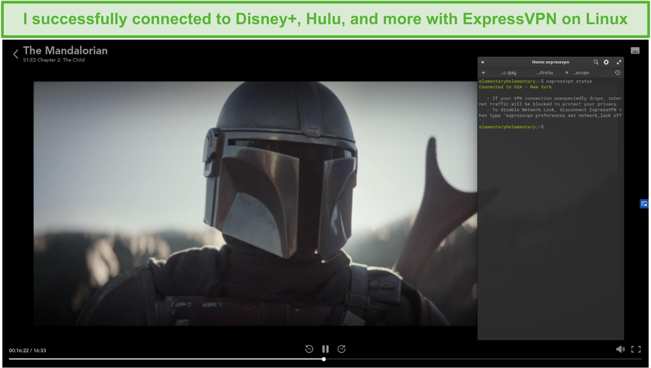 Screenshot of ExpressVPN on Linux unblocking The Mandalorian from Disney+ US.