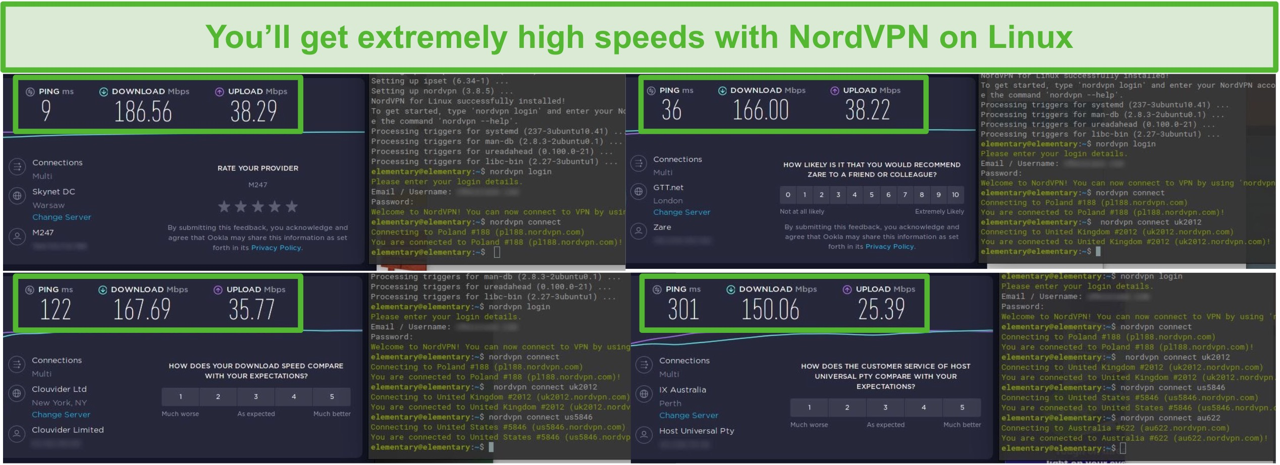 Screenshot of NordVPN speed tests on Poland, UK, US, and Australia servers.
