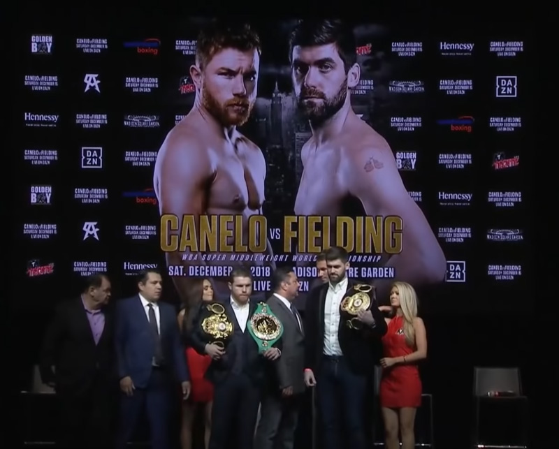 Canelo vs. Fielding boxing Dec 15th