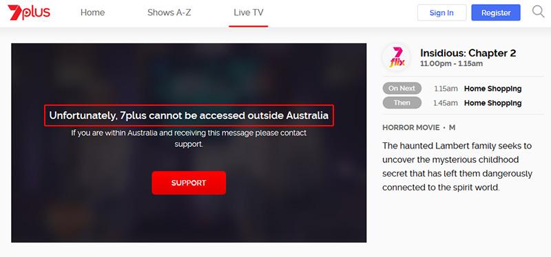 Channel 7 Australia geo-block message