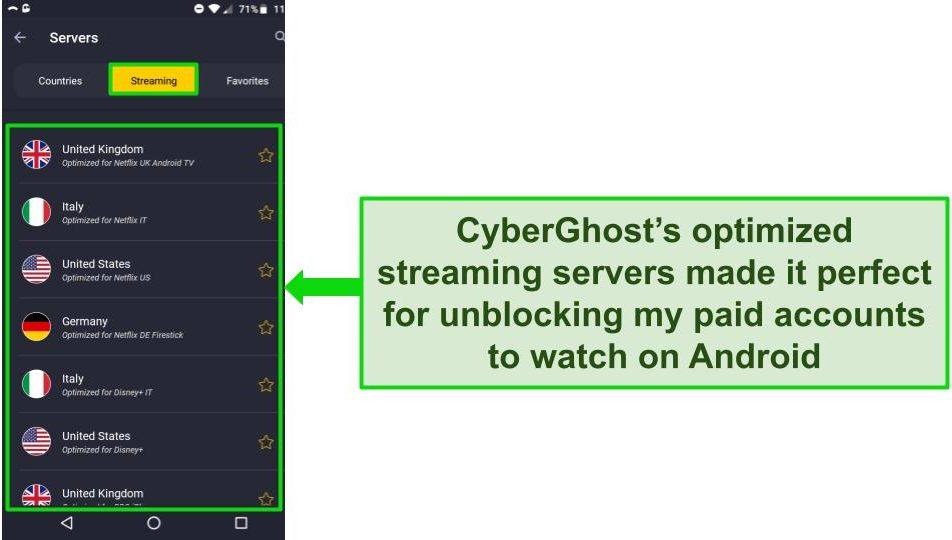 Screenshot of CyberGhost's streaming server menu on Android