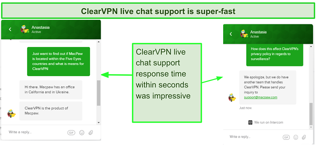 Screenshot of ClearVPN fast Live chat response time
