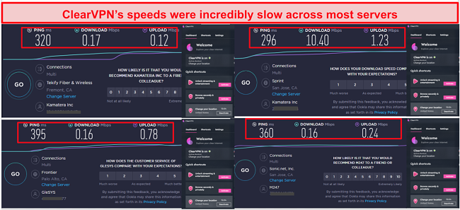 Screenshot of ClearVPN's speed tests in 4 server locations, including the UK, US, Canada, and Australia.