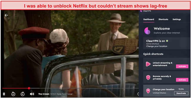 A screenshot of Netflix being unblocked while connected to ClearVPN's US server
