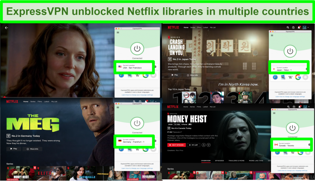 Screenshot showing ExpressVPN able to bypass Netflix geoblock in many regions
