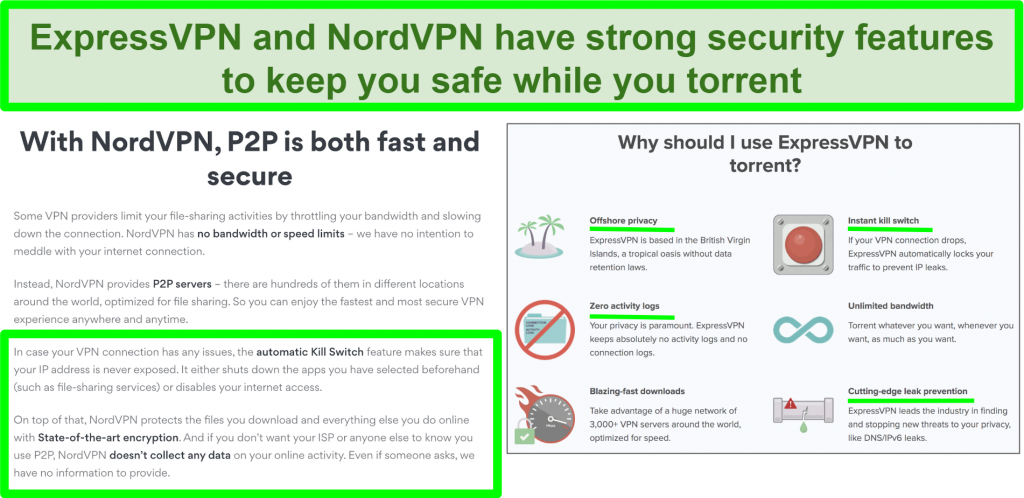 Screenshot of NordVPN and ExpressVPN websites showing that they support torrenting