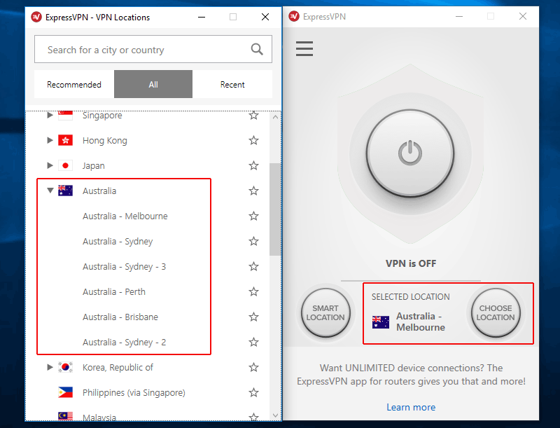 ExpressVPN Australian servers