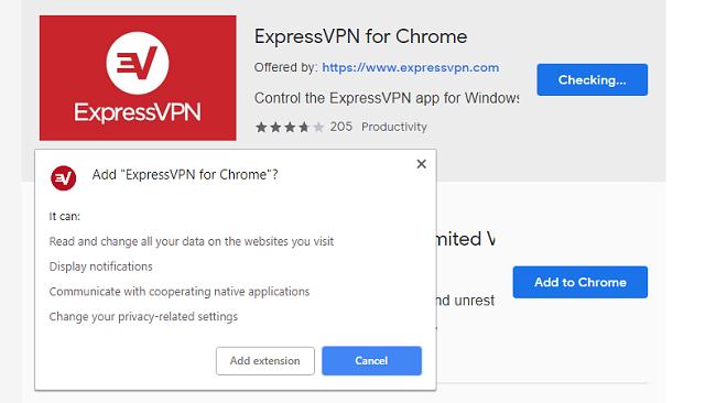 Chrome用ExpressVPN拡張機能