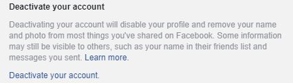 Facebook deactivate account