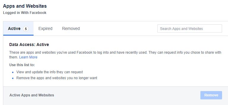 Facebook delete the linked apps