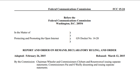 FCC Net Neutrality regulations