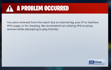 Fortnite vpn error message