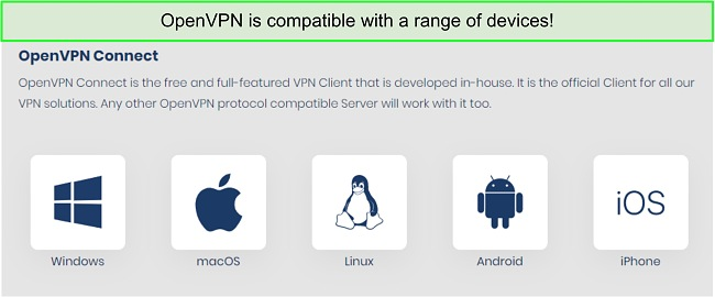 Screenshot of devices that you can get OpenVPN on.