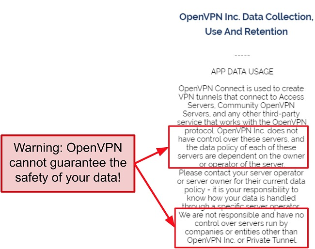 Screenshot of OpenVPN's privacy policy.
