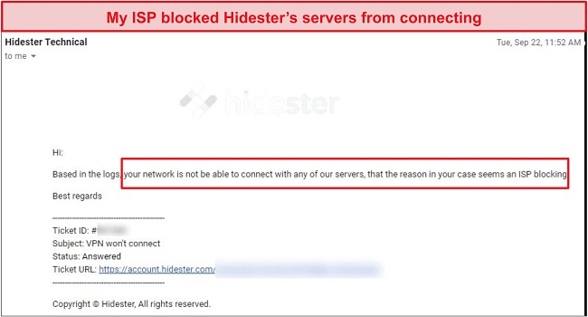 Screenshot of Hidester blocked by ISP