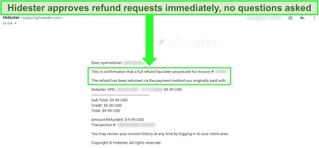 Screenshot of Hidester support approving refund