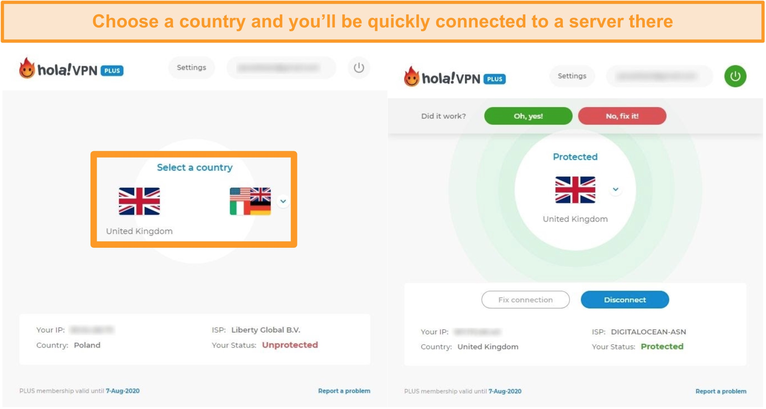 Screenshots showing how to connect to a specific country's server in Hola VPN.