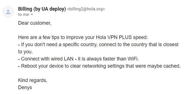 لقطة شاشة لرسالة بريد إلكتروني من الدعم الفني لـ Hola VPN تشرح كيفية تسريع VPN
