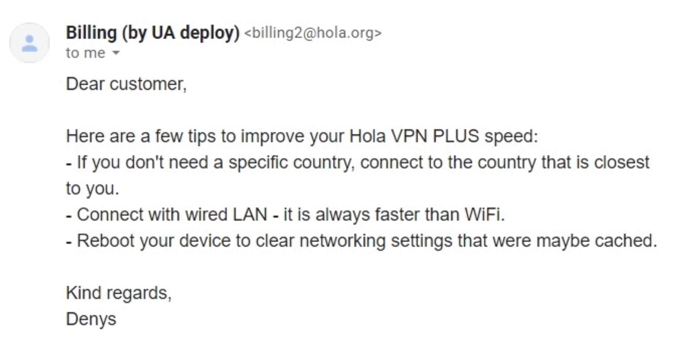 Screenshot of an email from Hola VPN tech support explaining how to speed up the VPN.