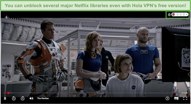 Screenshot of Hola VPN unblocking The Martian on Netflix US.