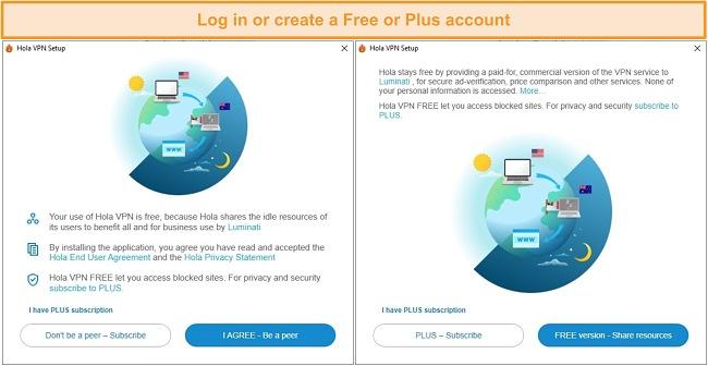 Screenshots of the Hola VPN installation process.