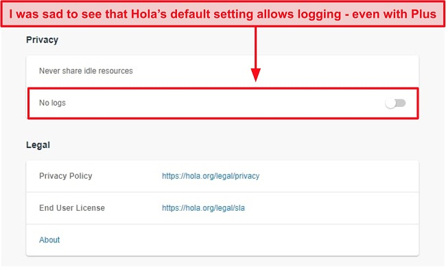 Screenshot of Hola VPN's no logs setting.