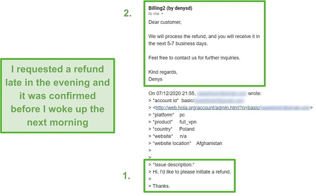 Screenshot of an email from Hola VPN confirming a refund within 10 hours of the original request.