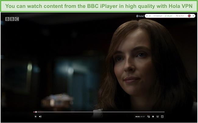 Screenshot of Hola VPN unblocking Killing Eve on the BBC iPlayer.