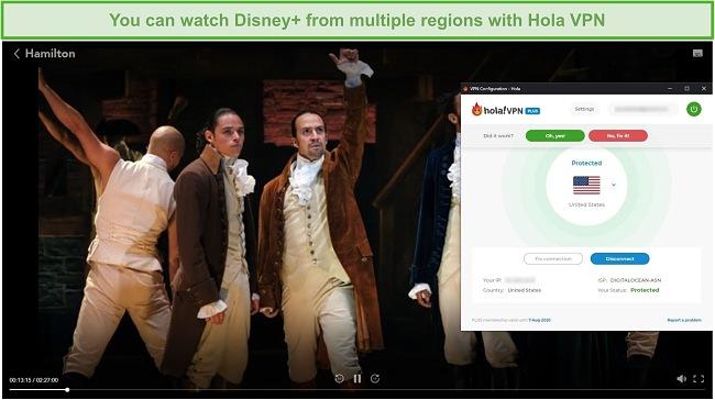 Screenshot of Hola VPN unblocking Hamilton on Disney+.