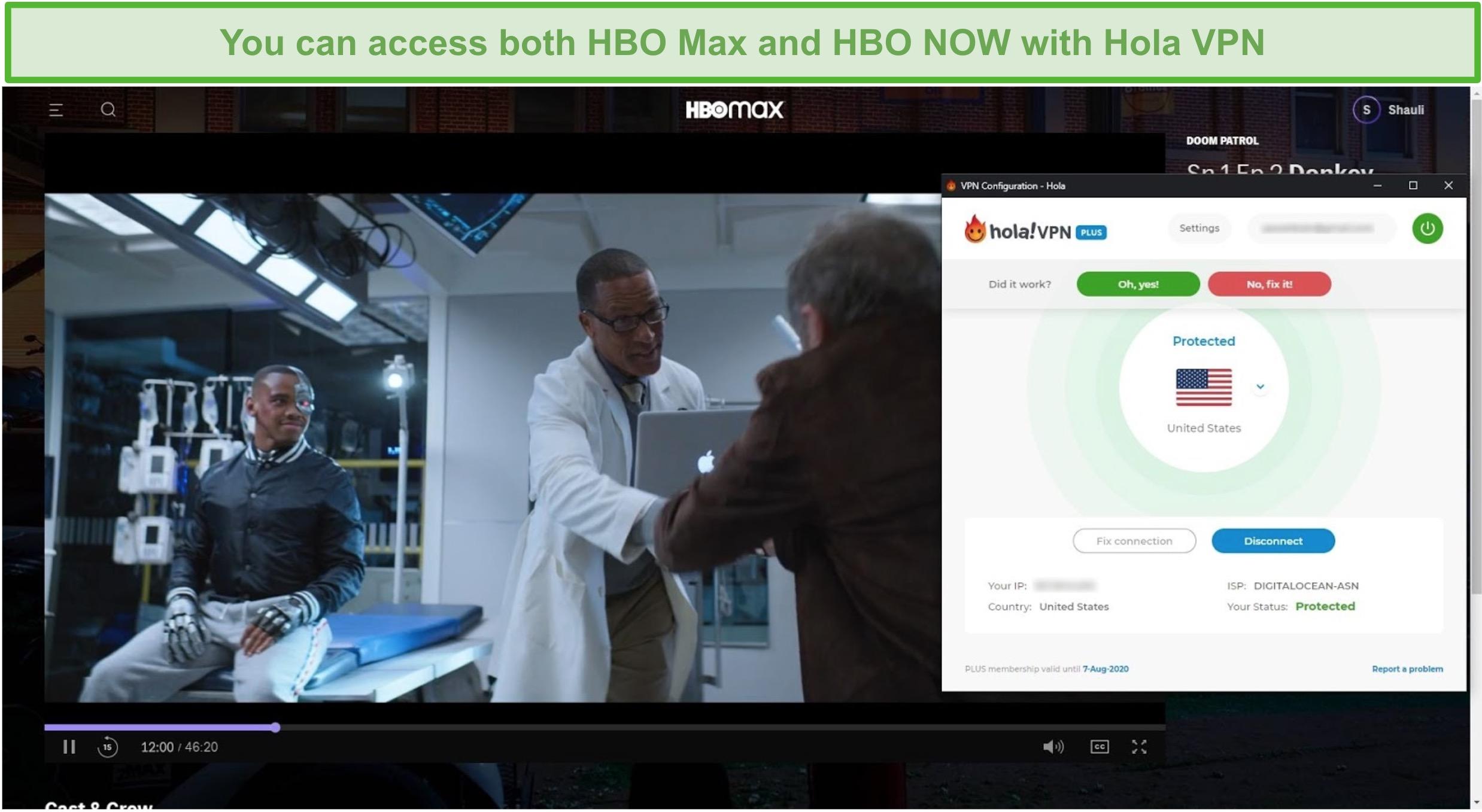 Screenshot of Hola VPN unblocking Doom Patrol on HBO Max.