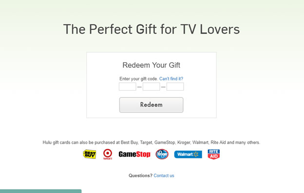 Redeeming your Hulu gift card code