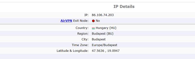 Screenshot KasperskyVPN IP test results