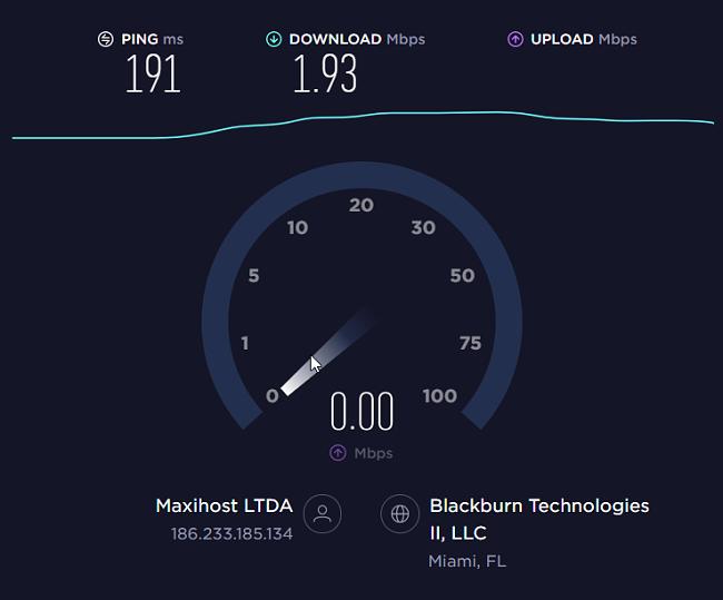 Screenshot of the KasperskyVPN speed test.