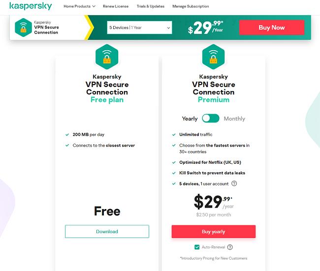 Screenshot of the KasperskyVPN pricing
