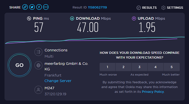 Results of the speed test for Kaspersky VPN.