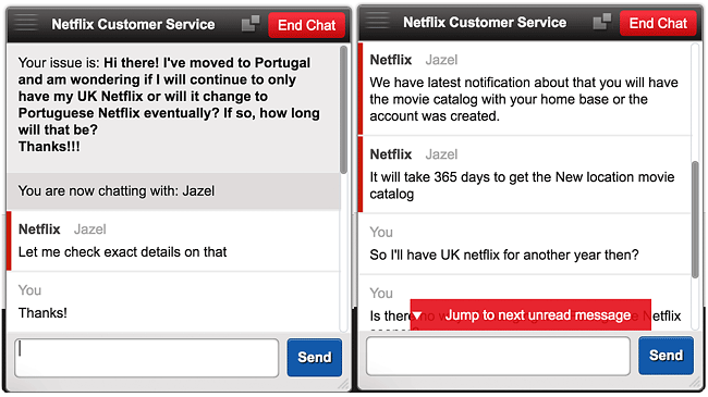 Netflix customer service new location movie