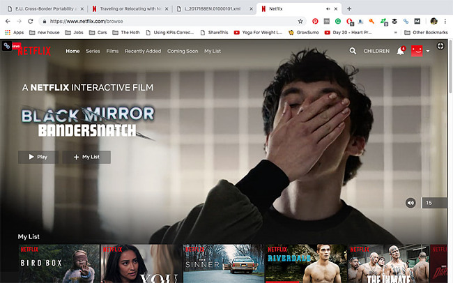 Netflix homepage while connected to a UK server