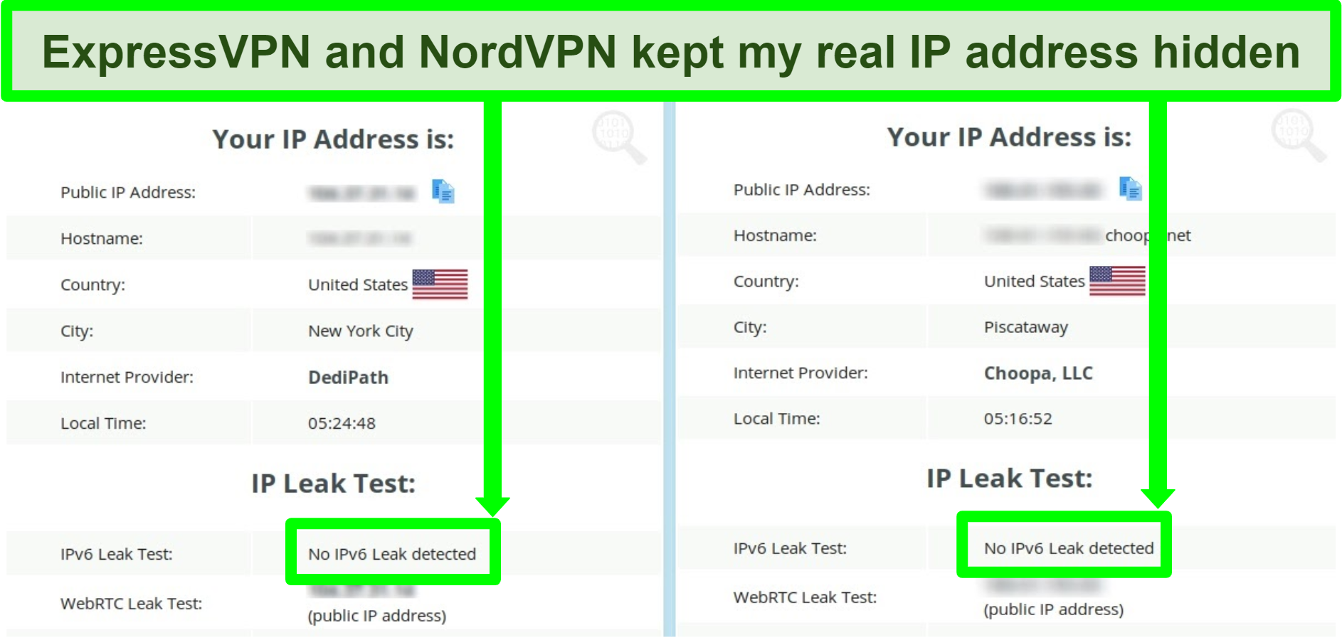 Screenshot showing no IPv6 leak detected for both NordVPN and ExpressVPN