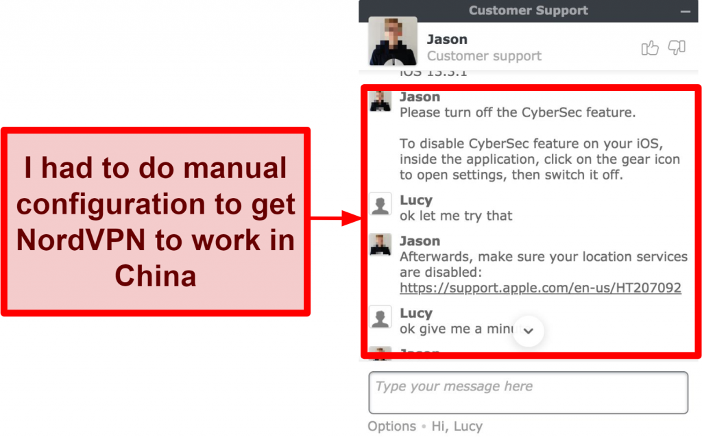 Screenshot of chat with NordVPN asking for advice on how to get app to work in China
