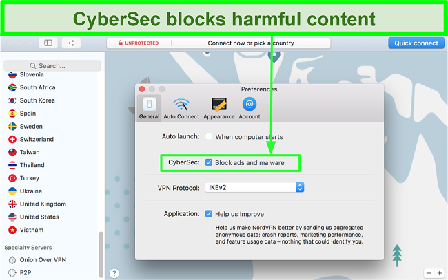 Screenshot showing CyberSec ad and malware blocker feature of NordVPN engaged