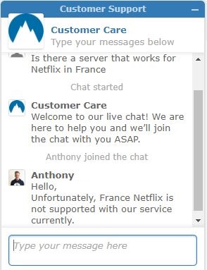 NordVPN's not Working for Netflix France