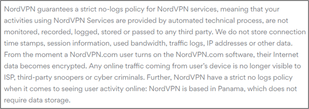 NordVPN privacy policy