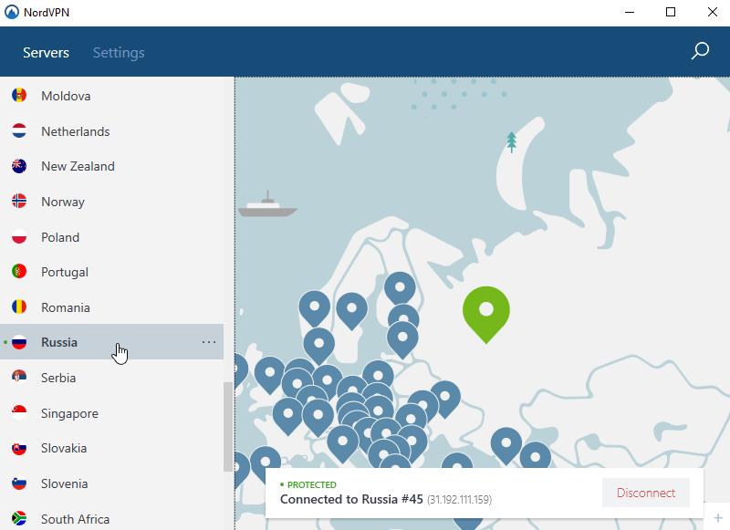 Nordvpn Russia servers